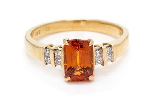 A 14 Karat Yellow Gold, Spessartine Garnet and Diamond Ring, 2.40 dwts.