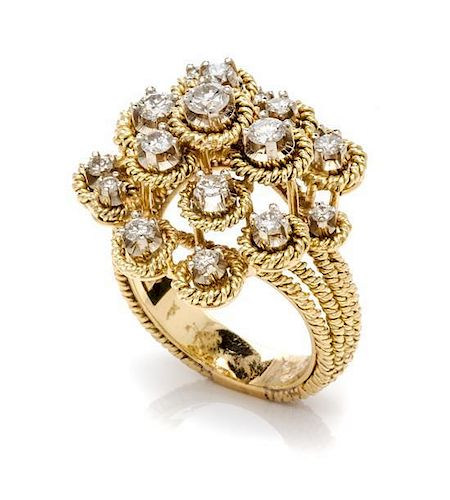 An 18 Karat Yellow Gold and Diamond Cluster Ring, 8.90 dwts.