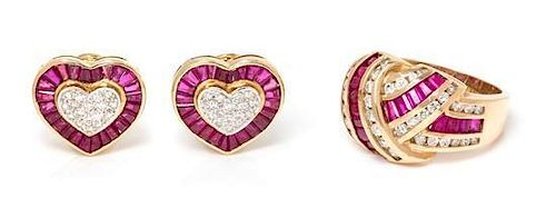 * A Collection of 14 Karat Yellow Gold, Ruby and Diamond Jewelry, 10.40 dwts.