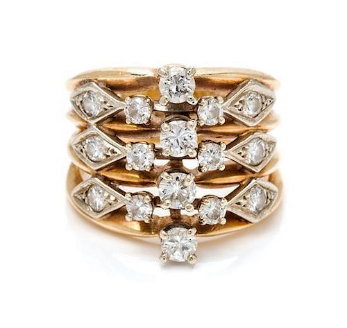 * A Bicolor Gold and Diamond Ring, 5.60 dwts.