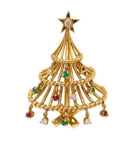 * An 18 Karat Yellow Gold, Diamond, Ruby and Emerald Christmas Tree Brooch, 6.45 dwts.