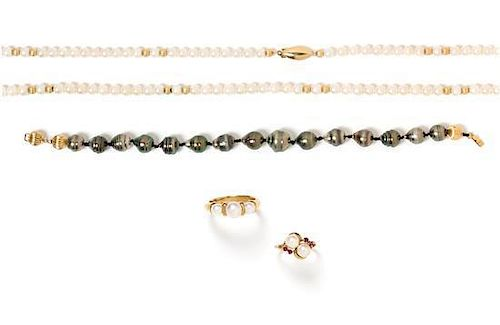 * A Collection of Yellow Gold and Cultured Pearl Jewelry, 38.00 dwts.