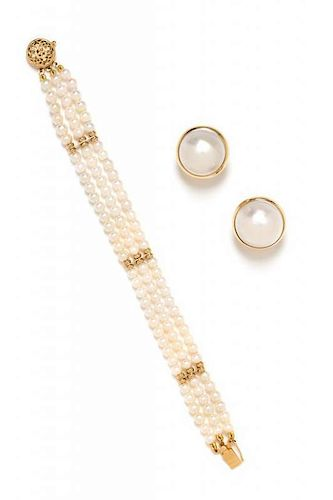 A Collection of 14 Karat Yellow Gold, Cultured Pearl and Mabe Pearl Jewelry, 20.00 dwts.
