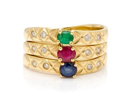* A Collection of 18 Karat Yellow Gold, Ruby, Sapphire, Emerald and Diamond Stacking Rings, 4.10 dwts.