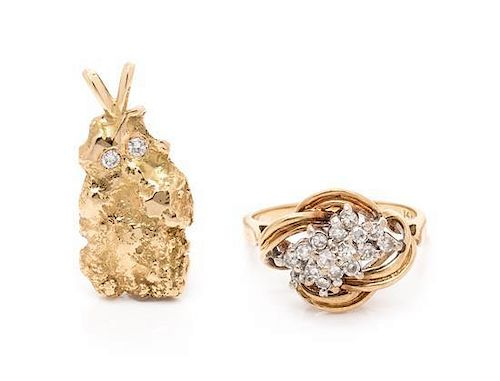 A Collection of Yellow Gold and Diamond Jewelry, 7.10 dwts.