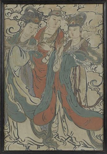 "Chinese School, ""Three Beauties Amongst the Clouds,"" 19th c., watercolor fresco on clay, presented in an ebonized frame, H.-"