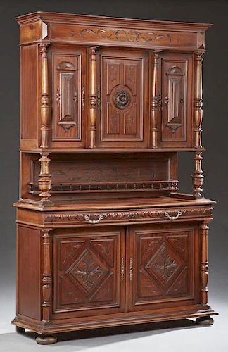 French Henri II Style Carved Walnut Buffet a Deux Corps, 19th c ...