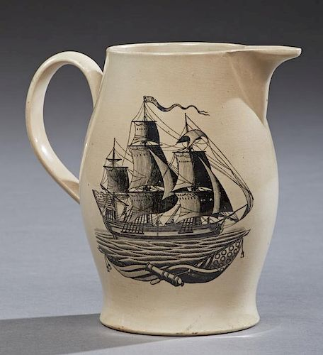 Excellent Liverpool Creamware Pitcher or Jug, c. 1795-1818, one side with black transfer of a three masted sailing ship under