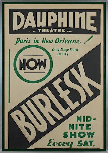 """Vintage Burlesk Poster, mid 20th c., for the """"Dauphine Theatre, Paris in New Orleans,"""" presented in an aluminum frame, H.- 39"""