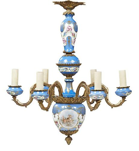 Sevres Style Porcelain and Bronze Six Light Chandelier, late 19th c., with a bleu celeste porcelain ground support with gilt