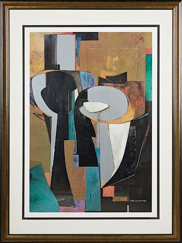 """Ysa Van Der Zee (1928- ), """"Silver Columns,"""" 20th c., lithograph, presented in a gilt frame, H.- 42 1/2 in., W.- 29 in."""