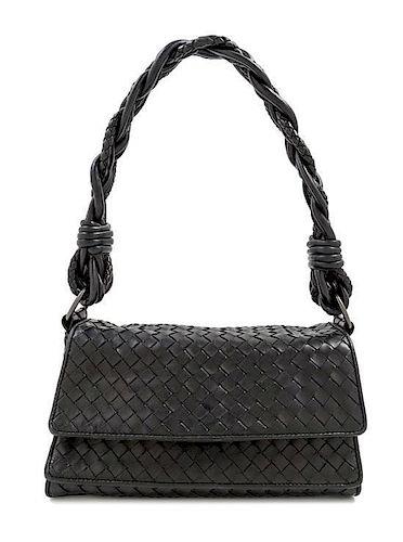 """A Bottega Veneta Black Intrecciato Double Flap Handbag, 10"""" x 5"""" x 4""""; Strap drop: 9""""."""