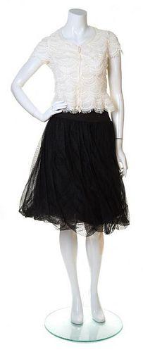 An Akris Cream and Black Skirt Ensemble, Top size 6; Skirt size 4.