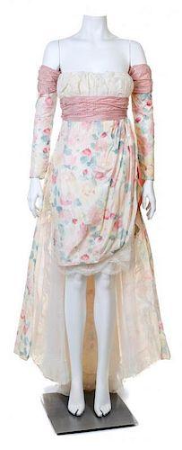 A Bernard Perris Silk Floral Strapless Dress Ensemble, Size 40.
