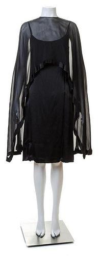 A Bill Blass Black Silk Cocktail Dress, Size 10.