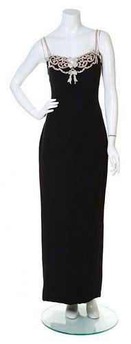 A Carolyne Roehm Black Silk Gown, Size 6.
