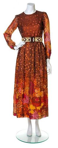 A Carven Brown and Orange Silk Floral Gown, No size.