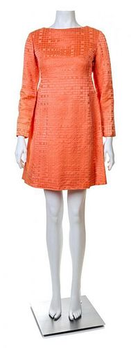 A Christian Dior Tangerine Silk Embossed Cocktail Dress, No Size.
