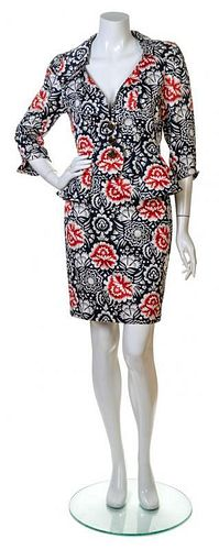 A Christian Lacroix Blue and Red Cotton Skirt Ensemble, Both Size 38.