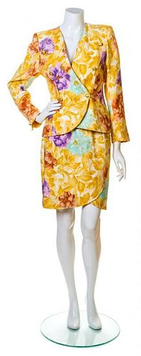 An Emanuel Ungaro Marigold Floral Jacket and Skirt Ensemble, Size 6.