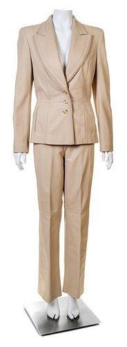 An Escada Cream Leather Pant Suit, Jacket size 38, Pants no size.