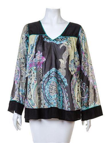 An Etro Multicolor Cotton Sheer Tunic, Size 44.