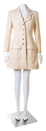 A Chanel Cream Wool Coat, Size 36.