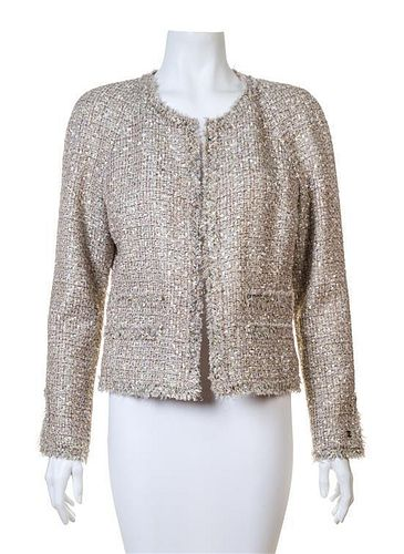 A Chanel Multicolor Boucle Shimmer Jacket, Size 40.