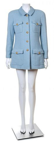 A Chanel Baby Blue Boucle Jacket, Size 44.