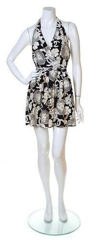 A Chanel Black and White Silk Lion Print Halter Dress, Size 38.