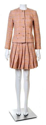 A Chanel Creations Dusty Rose Wool Skirt Ensemble, Size 4.