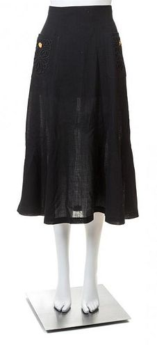 A Chanel Black Wool A-line Skirt, No size.