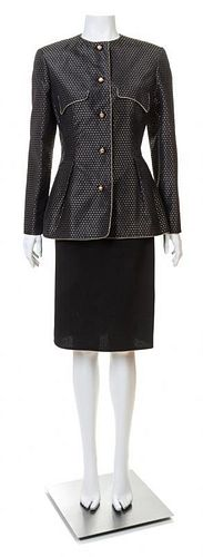 A Geoffrey Beene Black and Gold Jacket and Skirt Ensemble, Both size 8.