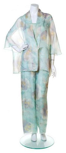A Giorgio Armani Silk Floral Jumpsuit and Capelet, Jumpsuit size 42.
