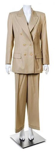 A Givenchy Tan Wool Pinstripe Pant Suit, Size 40.