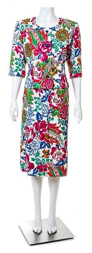 A Givenchy Multicolor Floral Jacket and Skirt Set, No size.