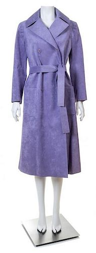 A Halston Lavender Ultra Suede Double Breasted Coat, Size 6.