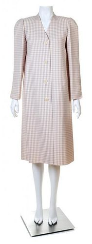 A Halston Lavender and Cream Wool Check Coat, Size 8.