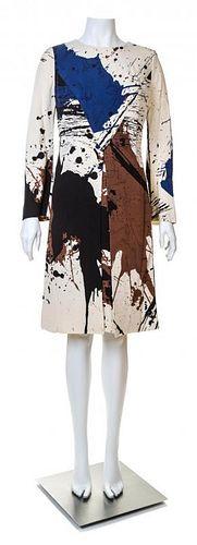 A Hanae Mori Silk Paint Splatter Dress, Size 14.