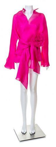 A Jackie Rogers Magenta Sheer Silk Jacket, Size large.