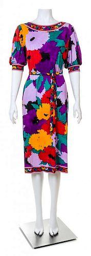 A Leonard Purple Silk Floral Dress, No size.