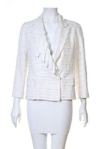 A Maison Margiela White Cotton Textured Jacket, No size.