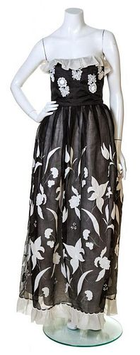 A Nina Ricci Black and White Silk Gazar Gown, Size 44.