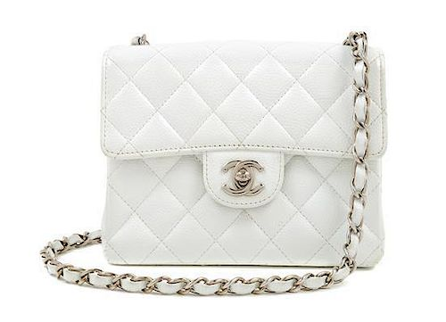 347a95a6ec68e8 A Chanel White Caviar Mini Cross Body Flap Bag, 6.5