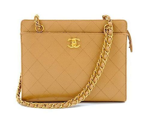 "A Chanel Beige Caviar Quilted Shoulder Bag, 10"" x 8"" x 3.5""; Strap drop: 11""."