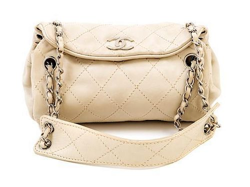 704e005875b2 A Chanel Cream Lambskin Quilted Shoulder Bag, 9.5
