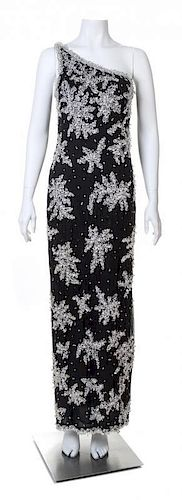 An Adolfo 1970s Black Chiffon One Shoulder Gown,