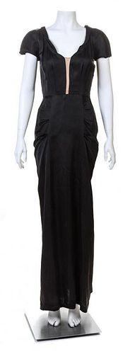 A Hattie Carnegie Black Silk Gown, No size.