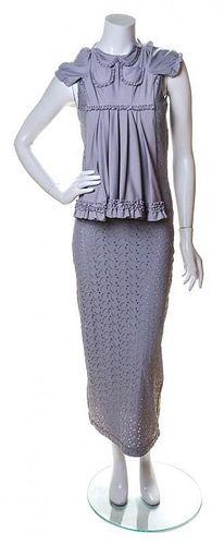 "A Comme des Garcons Grey Sleeveless ""Dress on Dress"", Size medium."