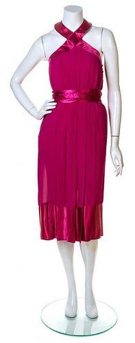 A Pierre Cardin Fuschia Pleated Cocktail Dress, Size 4.